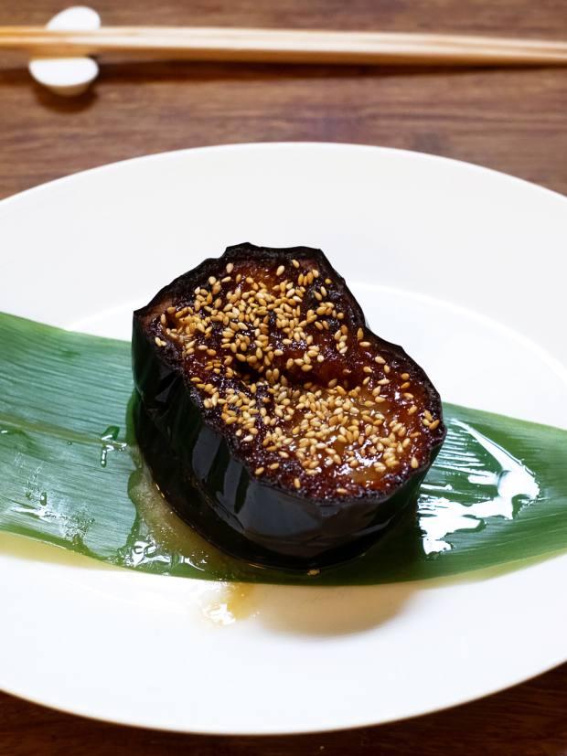 Nasu-miso double-cooked aubergine, £7.80