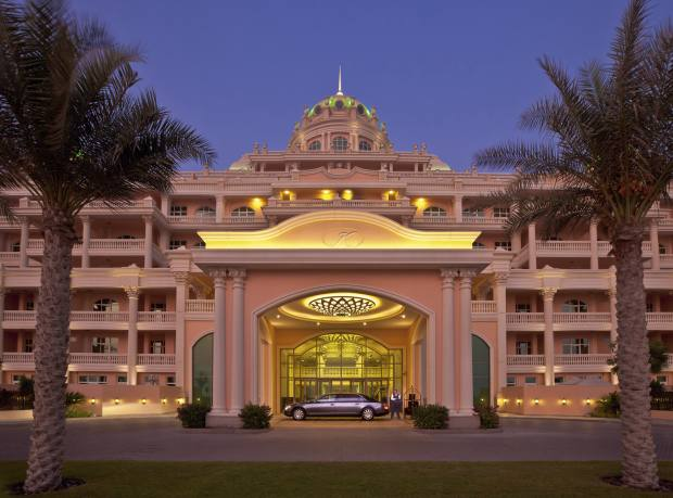 The entrance to the Kempinski Residences, where a four-bed penthouse is available for about £2,316,140 through Cluttons