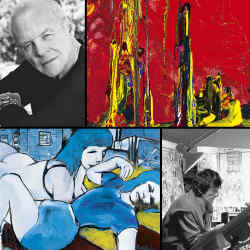 Clockwise from top left: Anthony Hopkins; his painting, Electra, 2008; Bob Dylan; Ronnie Wood's Ballet Ref 11 – Darcey Bussell and Carlos; Ronnie Wood; Bob Dylan's Two Sisters, 2009.