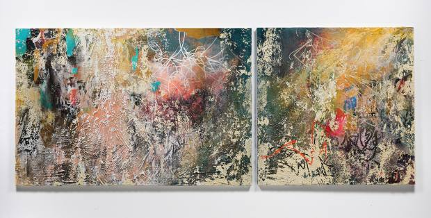 Echo of Impressions, 2018. Acrylic, ink, enamel, paper and plaster on canvas, 182.9cm x 457.2cm