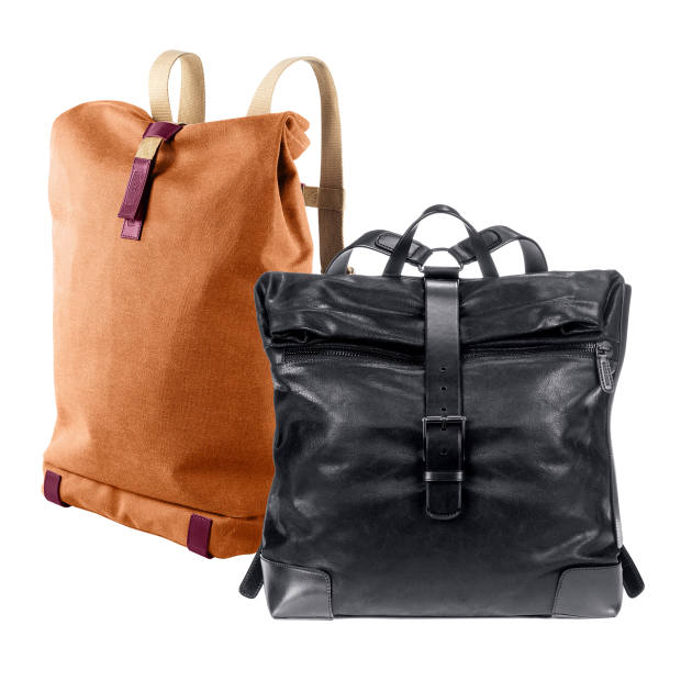 Brooks England water-resistant cotton and leather Pickwick backpack, £205. Giorgio Armani deerskin and cuoio leather backpack, £1,850