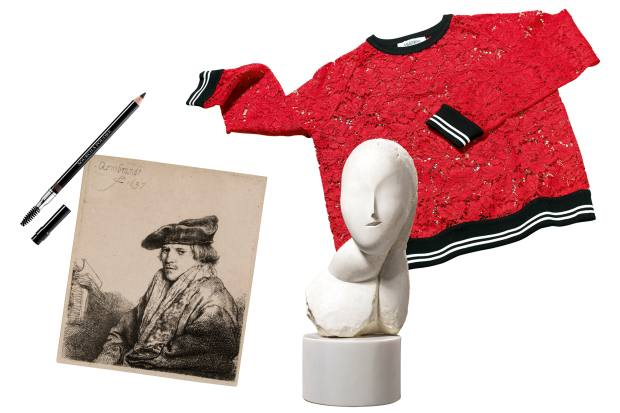 Rech's Valentino lace top. Young Man in a Velvet Cap by Rembrandt. La Muse by Constantin Brâncus¸i. Christian Dior 693 eyebrow pencil, £20.