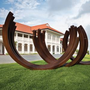 The Arc by Bernar Venet, which is located on the CapellaSingapore hotel's front lawn