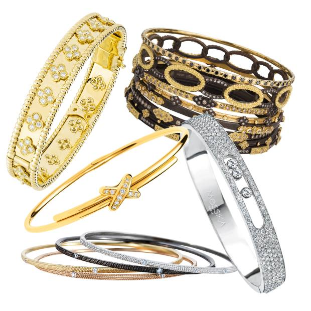 Clockwise from top left: Van Cleef & Arpels gold and diamond Perlée bangle, £18,500. Armenta gold, oxidised-silver and diamond Midnight bangles, from £550 each. Messika white-gold and diamond Move bangle, £12,800. De Beers white-, black-, yellow- and rose-gold and diamond Azulea bangles, £2,275 each. Chaumet gold and diamond Liens bangle, £3,570