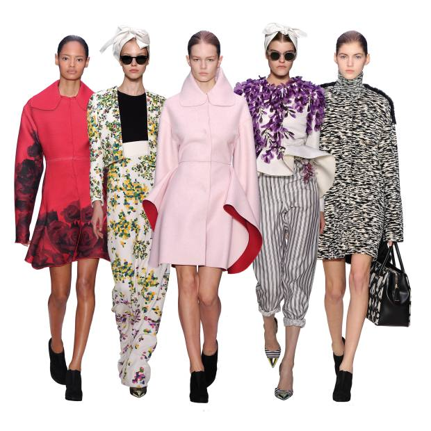 From left: printed wool coat, about £4,200. Couture embroidered silk-crepe Joaquín Sorolla flowers jacket and matching dress, both price on request. Felted-wool coat, about £1,360. Couture embroidered-silk faille wisteria jacket, and silk trousers, both price on request. Wool and fur coat and polo-neck jumper, both price on request