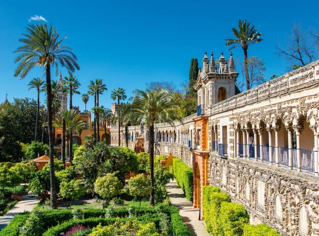 The gardens of the Alcázar palace in Seville