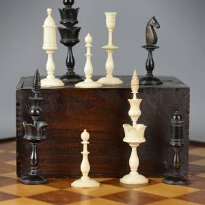 1840-70 German bone chess set, £850 from Tim Millard