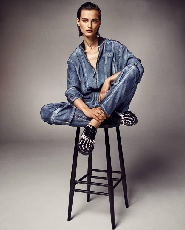 Louis Vuitton silk crepe jumpsuit, £2,550, and calfskin Richelieu shoes, £625