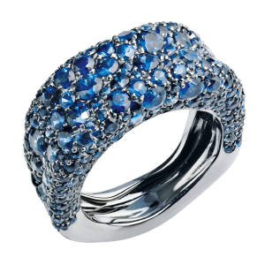 Fabergé rhodium-plated white gold Emotion ring with sapphires, £8,144