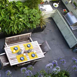 Alex Dawson and Dan Cooper's outdoor kitchen in Kent by garden designer Declan Buckley.