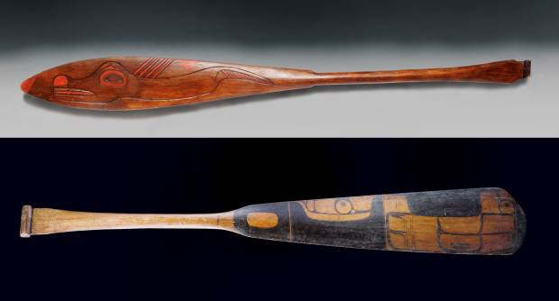 From top: c1900 Nuu-Chah-Nulth paddle, $1,950 at Anthropos Gallery. Haida paddle, sold for €13,750 at Christie's Paris
