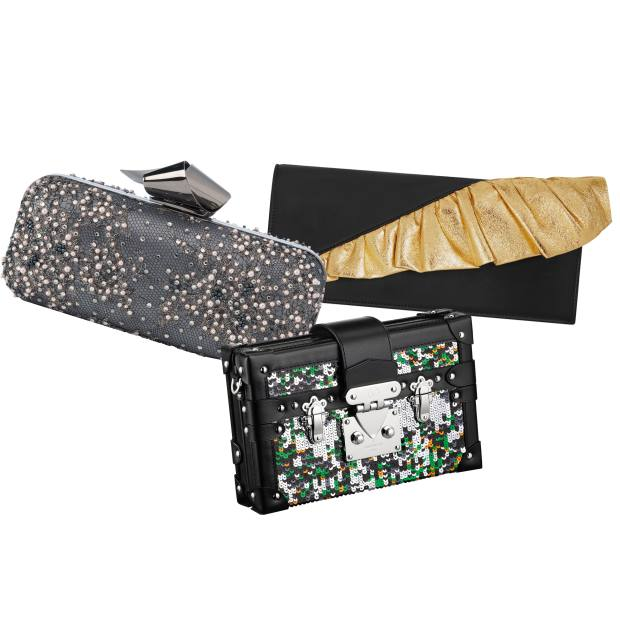 Clockwise from top left: Jimmy Choo embellished lace Cloud Tube clutch, £1,795. Saint Laurent calfskin clutch, £655. Louis Vuitton leather and sequin Petite Malle, £3,800