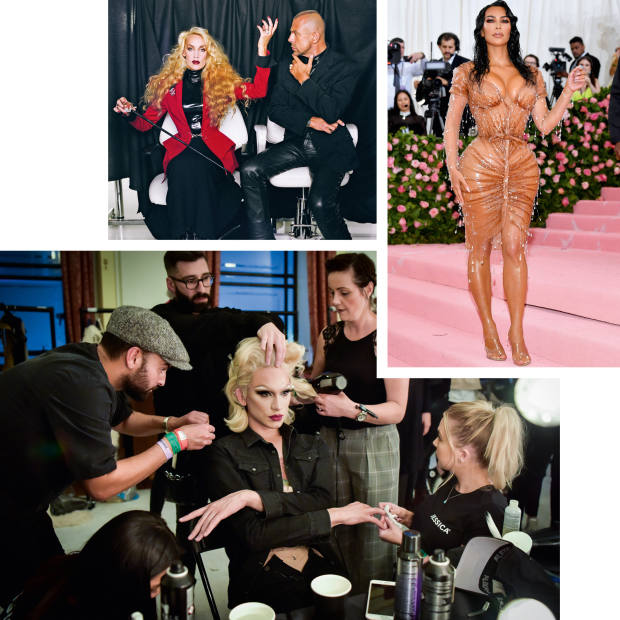 """Clockwise from top left: Jerry Hall and Thierry Mugler in 1996. Kim Kardashian West at the """"Camp"""" Met Gala. Miss Fame at London Fashion Week, 2017"""
