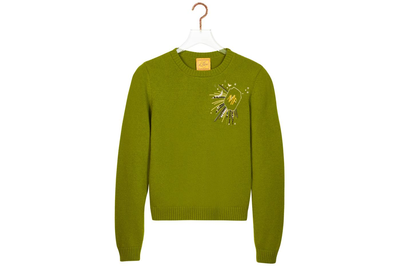 Merino wool Petite Crewneck with monogram, from $495