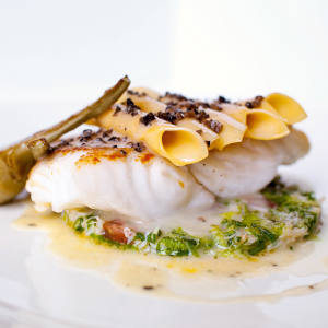 Hand-rolled macaroni and turbot is a highlight of the menu at Restaurant Hywel Jones