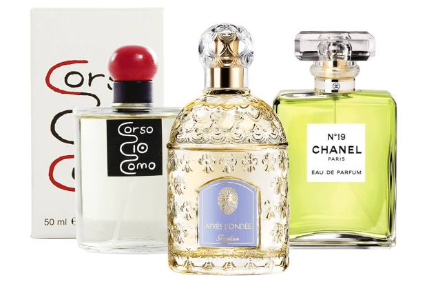 From left: 10 Corso Como, £87.60 for 100ml EDP. Guerlain Après L'Ondée, £85 for 100ml EDT. Chanel No 19, £74 for 50ml EDP