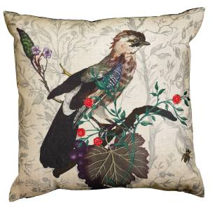 Timorous Beasties Jay cushion (47.5cm sq) in linen, £85. Also in other bird designs/colours