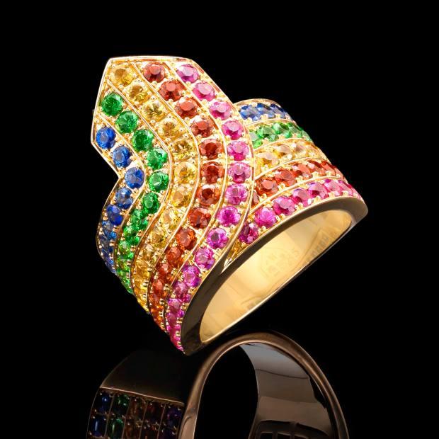 "Robinson Pelham bespoke 18ct-yellow-gold ""Rainbow Tron"" ring set with rainbow sapphires and tsavorites"