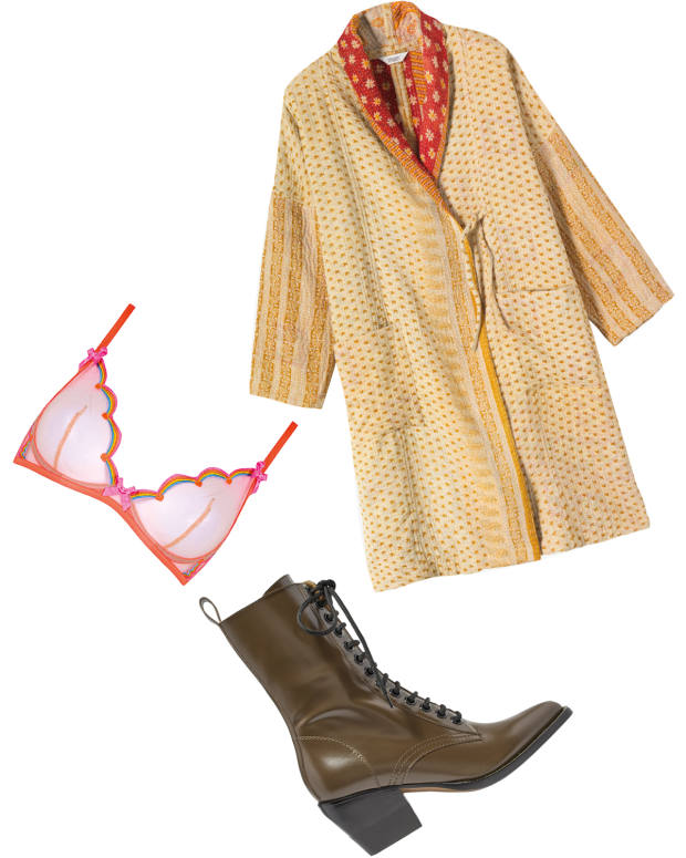Clockwise from left: Archer's Agent Provocateur Izzy bra. Toast kantha‑embroidered coat, £225. Chloéleather boots, £920