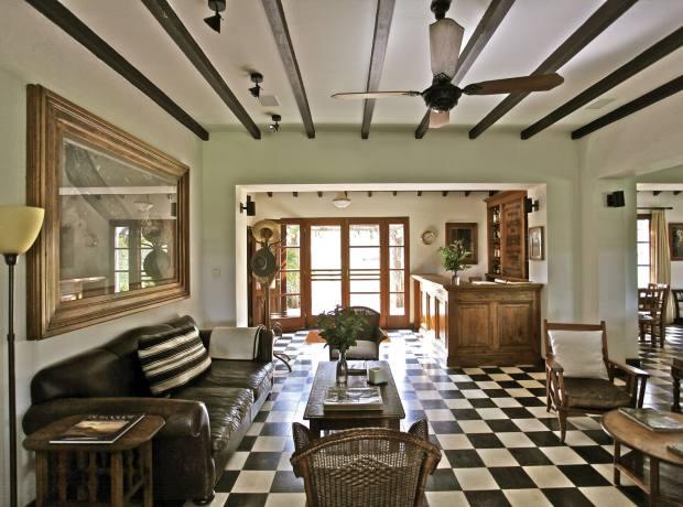 The living room at Rincón del Socorro, on the edge of the Iberá Wetlands.