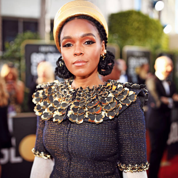 Janelle Monáe wears Maison Michel forChanel to the Golden Globes 2019