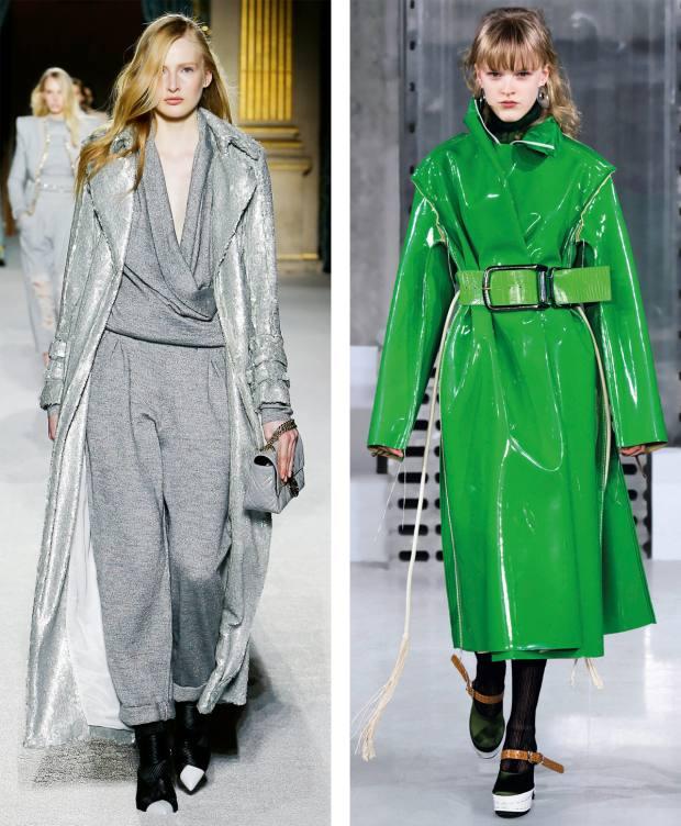 From left: Balmain metallic paillette trench coat,€4,790. Marni vinyl coat,£1,610