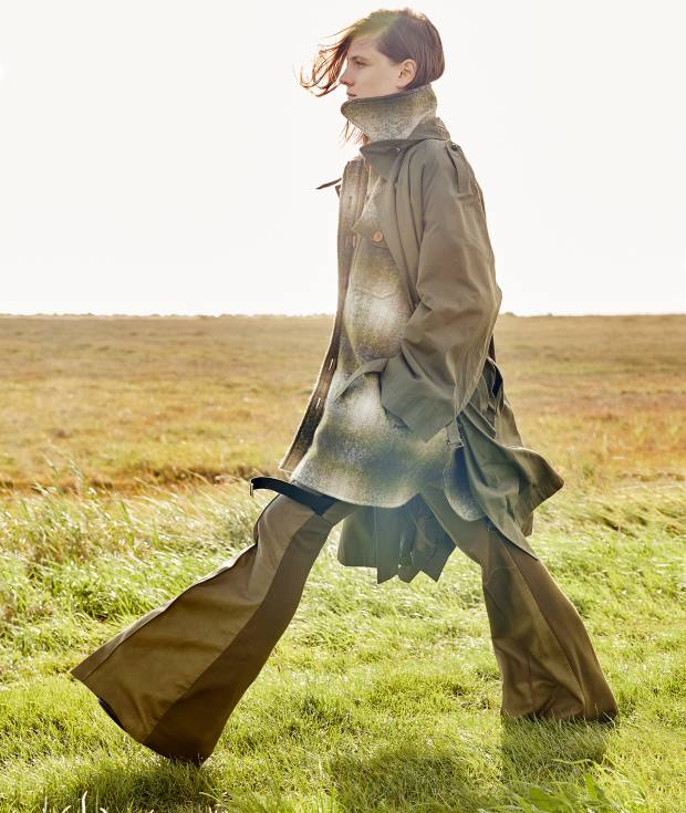Céline cotton faille coat, about £1,200. Chloé wool coat, £1,600. David Koma stretch cady/lambskin trousers, £2,505