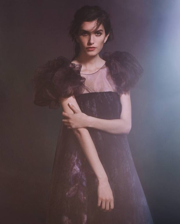 Giorgio Armani viscose and silk tulle top, price on request, and silk satin and silk tulle skirt, £1,050