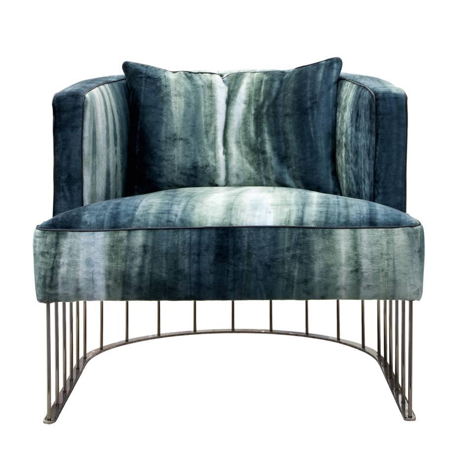 Erba Italia Tentazione armchair (74cm x 77cm x 87cm) in Chivasso cotton/viscose-mix Cheeky Stripe, £102 per m, and chrome finish. Also in other fabrics/materials