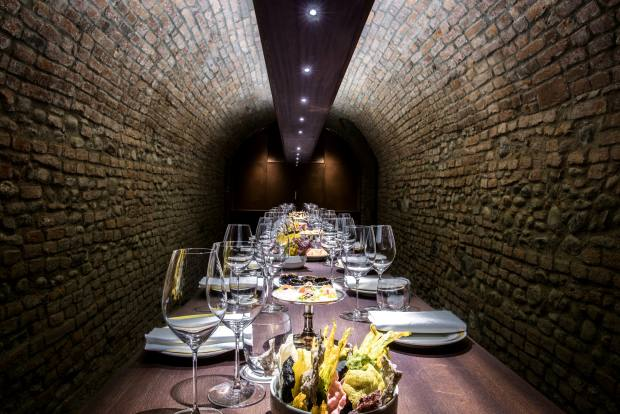 The wine cellar at Del Cambio, a Turin dining institution, that opened in1757
