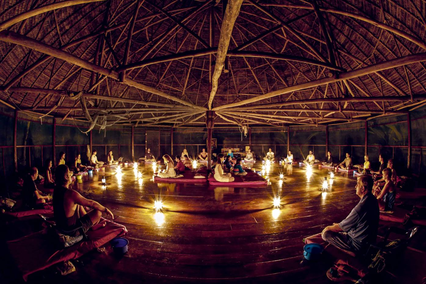The start of an ayahuasca ceremony at the Temple of the Way of Light in Peru