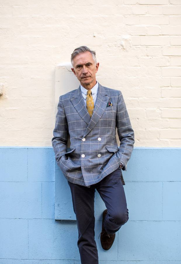 David Evans wears Dashing Tweeds jacket, Triplstitched x Grey Fox collaboration shirt, Shaun Gordon tie and Cravat Club pocket square
