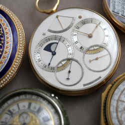 Centre: the 1982 Space Traveller I pocket watch (estimate £700,000-£1m) by the late English watchmaker George Daniels, inspired by the 1969 moon landing. It hasn't been seen in public since 1988