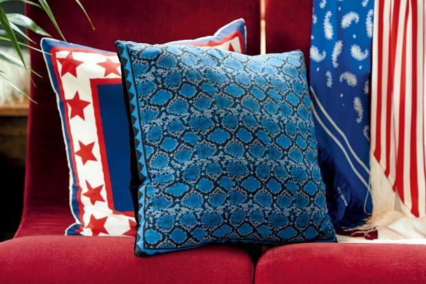 Rockins printed-silk cushions, £90 each