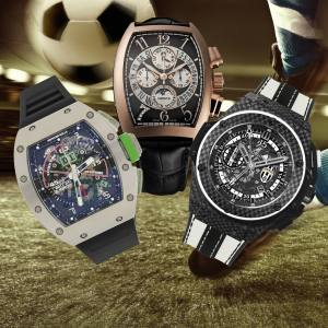 From left: Richard Mille RM011-01 Mancini, price on request. Franck Muller's sell-out limited-edition Perpetual Calendar Bi-Retro Chrono CR7, made in honour of Cristiano Ronaldo. Hublot limited-edition King Power Juventus, from £19,000