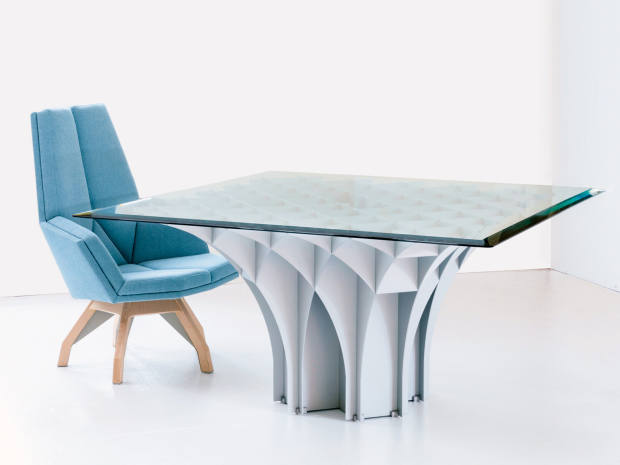 Cathédrale table, $74,820, and Iena armchair, $15,480