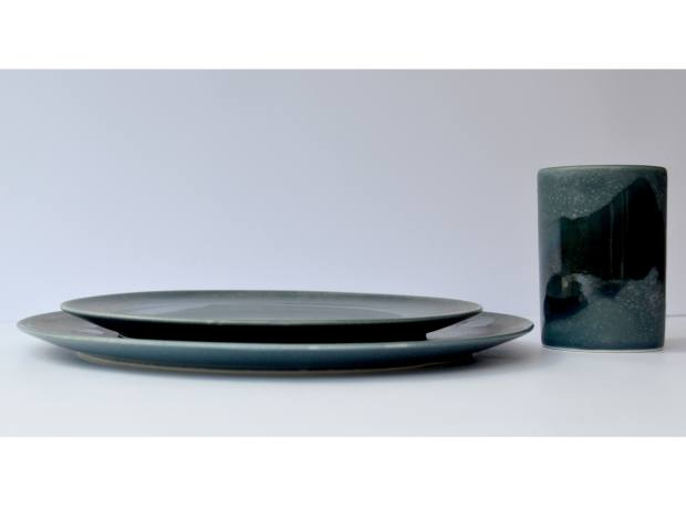 Gaya handmade ceramic dinner plate, side plate and cup in green