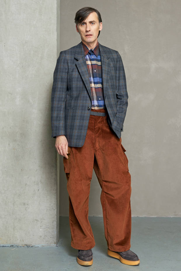 E Tautz wool flannel jacket, £645, cotton overshirt, £295, and corduroy trousers, £250