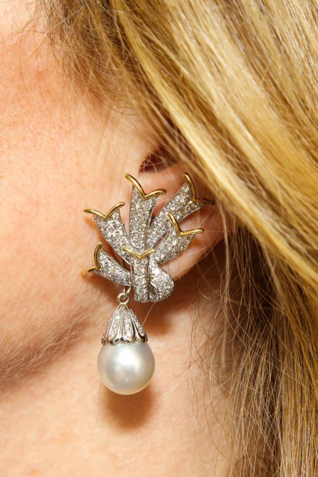 Schlumberger for Tiffany gold, platinum, diamond and pearl drop earrings, $45,000