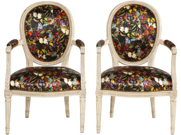 A pair of antique French armchairs upholstered by Sasha Bikoff in a Valentino butterfly print, $4,500