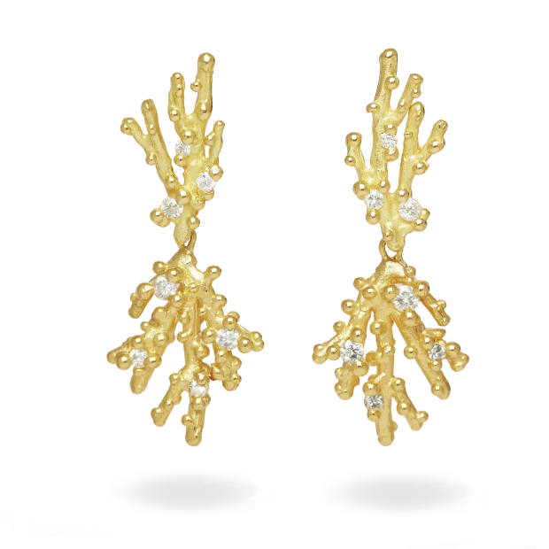 Ruth Tomlinson diamond and gold Hydra drop earrings, £2,380