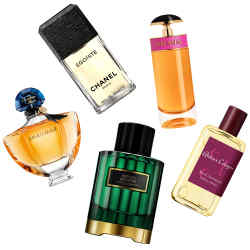From left: Guerlain Shalimar, £72 for 50ml EDP. Chanel Egoïste, £52 for 50ml EDT. Carolina Herrera Herrera Confidential Neroli Bohème, £195 for 100ml EDP. Prada Candy, £49.50 for 30ml EDP. Atelier Cologne Rose Anonyme Extrait, £110 for 100ml cologne absolue