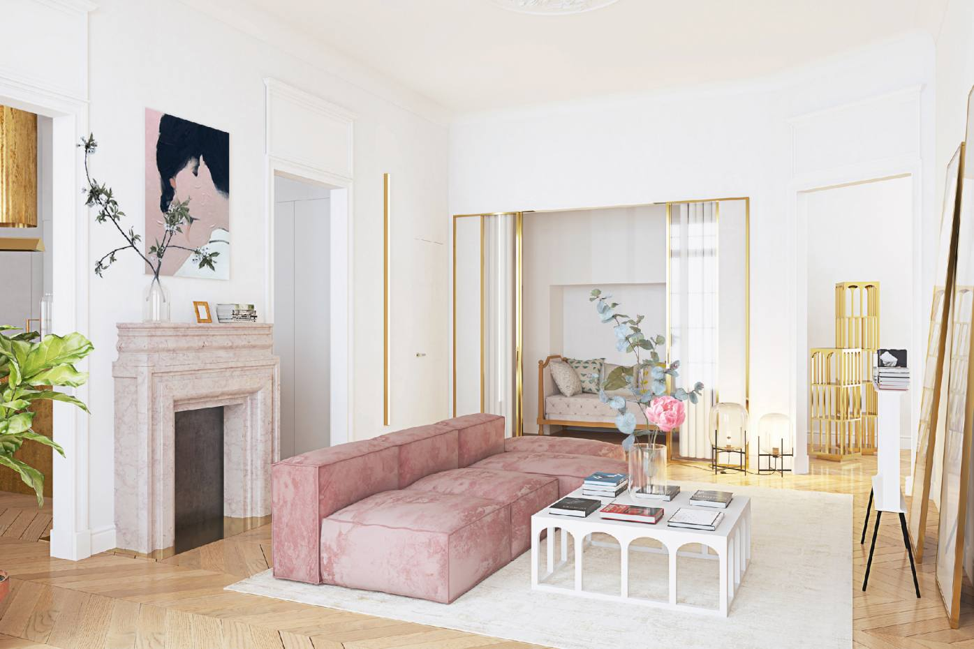 A moscow apartment featuring a pink colour scheme by crosby studios