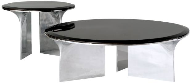 Joëlle Rigalfor Roche Bobois aluminium and birch Alto cocktail table, from £2,710, and end table, from £1,790