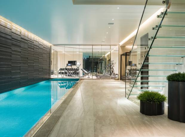 The basement swimming pool of a six‑bedroom house in Wilton Mews, Belgravia, £36.5m through Knight Frank and Savills