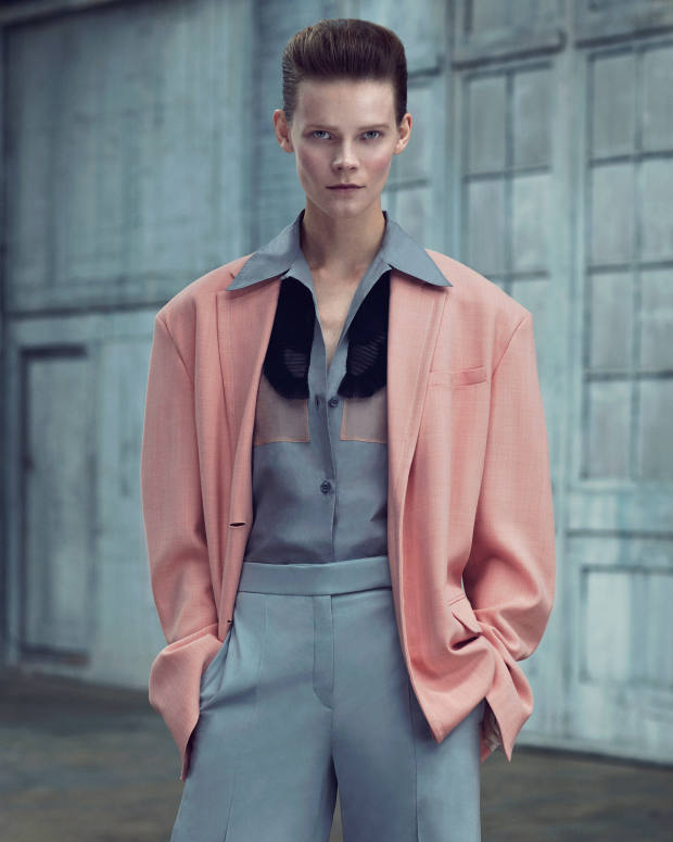 Roksanda wool Ara jacket, £1,295. Prada cotton poplin shirt, £660. Paul & Joe wool-mix trousers, £215