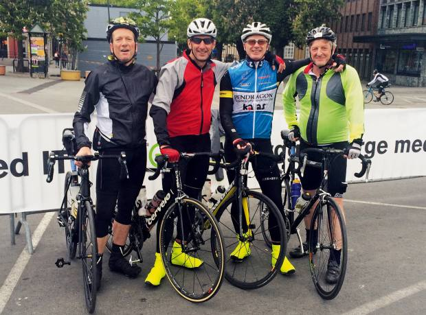 Wave, Rick, Bruce and the author at the start line in Trondheim