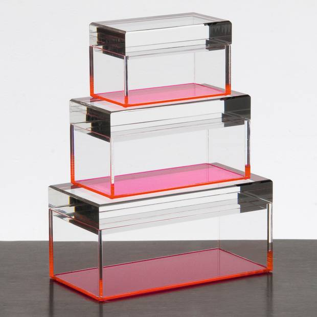 Alexandra Von Furstenberg acrylic and glass Treasure boxes, from £240