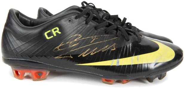 Cristiano Ronaldo's boots, estimated at $5,000-$7,000, worn for his Real Madrid debut in August 2009