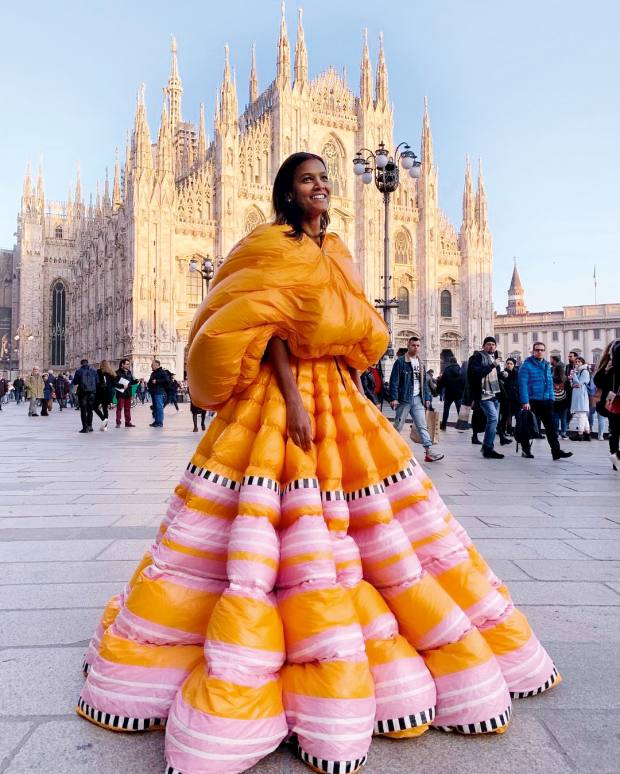 Kebede modelling a puffer gown by Pierpaolo Piccioli for Moncler, in Milan, 2019